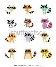 cute raccoon vector - stock vector