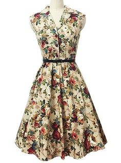 Plus Size Vintage Dress - Floral / Sleeveless