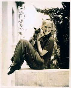 Ginger Rogers and Siamese cat