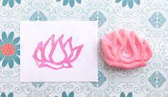 Lotus stamp, blossom stamp, hand carved stamp, handmade flower stamp, hand carved crocus stamp, plant stamp, lotus rubber stamp