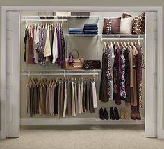 ClosetMaid's closet organization solutions feature fixed mount and adjustable closet organizer kits with sturdy, classic wire shelving. Depending on your needs, choose a ClosetMaid closet organizer kit that will bring your organization dreams to life. Small Bedroom Organization, Closet Organization, Storage Organization, Closet Shelves, Closet Storage, Closet Doors, Closet Bar, Closet Redo, Wardrobe Storage