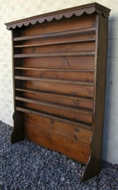 Antique French Provincial Plate Rack & Wooden Plate Racks Wall Mounted | Antique 19C Victorian pine dresser ...