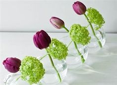 Simple reception table centerpieces, place on small mirror & add some votives to the table too.bold purple and green Deco Floral, Arte Floral, Wedding Reception Tables, Wedding Centerpieces, Simple Centerpieces, Party Tables, Centerpiece Ideas, Wedding Decor, Wedding Ideas