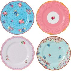 ROYAL ALBERT Candy set of four tea plates 20cm ($115) ❤ liked on Polyvore featuring home, kitchen & dining, dinnerware, royal albert, stripe dinnerware, striped dinnerware, bone china and multi colored dinnerware
