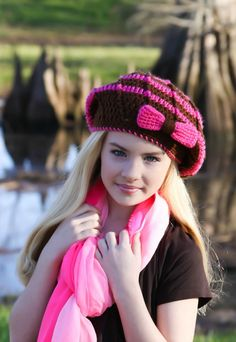 Crochet Slouchy Beanie Hat for Tween Girl Brown por foreverandrea