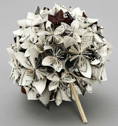 Bouquet made of pages from a novel