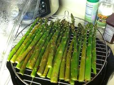 Asparagus drizzled with oil, garlic onion seasoning and a little cayenne pepper; cooked in the Nuwave oven.