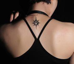 Upper Back Small Tribal Sun Tattoo for Women