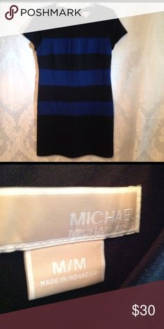 Michael by Michael Kors Dress Beautiful cap sleeve black and blue stripped dress.  Stretchy knit AND fully lined.  Great office dress or out to lunch with the girls (or both). MICHAEL Michael Kors Dresses