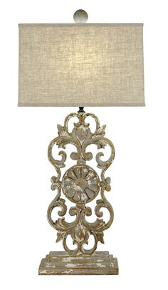 Carved Gray Table Lamp