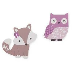 Lavender Woods Forest Animals Fox and Owls Girls Nursery Wall Art Decor Hangings