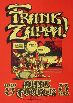 Rare Mini Print/Poster - Size: A4 (Approximately: 21 cm x 29.7 cm) 8.27 inches x 11.7 inches. Frank Zappa, Concert Posters, Poster Prints, Mini, Gig Poster