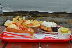 lunch at the Lobster Shack.  We had delicious lobster rolls, fries, coleslaw & amazing Maine blueberry pie.