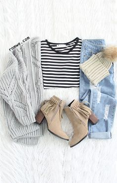 Grey Textured Hollow Out Collarless Cardigan with striped t shirt , ripped denim and tassel boots
