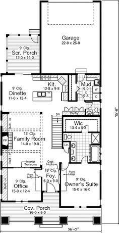 Plan 14303RK: Character-Filled Cottage Bungalow House Plans, Craftsman Style House Plans, Cottage House Plans, Small House Plans, House Floor Plans, Closet Office, 3 Bedroom House, House Blueprints, Master Suite