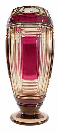 Val St Lambert Vase ADP9 - Cristal topaze doublé violet-évèque - Joseph Simon vers 1933.