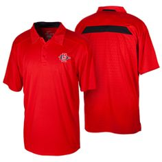 2013 Sideline Coaches Polo Men's Nike Dri-Fit short-sleeve polo with 3 button placket and jacquard pattern mesh on back panel, contrast color inset at back collar & back yoke, mesh collar stand and lower side-seam vents. This polo features the iconic Nike Swoosh design on the left sleeve, and the interlocking SD Spear embroidered on the left chest. $65