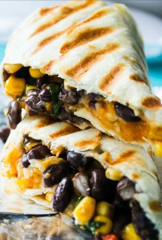 Crispy Black Beans and Rice Burritos