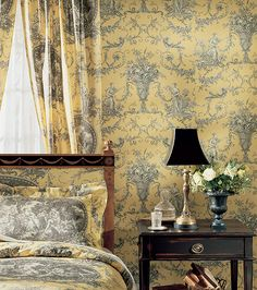 Biltmore Toile Wallpaper from Thibaut Toile Resource Collection Volume elegant toile de jouy wallpaper with urns and cherubs in charcoal on a yellow background Purple Home, French Cottage, French Country House, French Decor, French Country Decorating, Toile Bedding, Bedding Sets, Toile Wallpaper, French Country Bedrooms