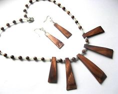 Sidef si lemn, bijuterie set colier si cercei - idei cadouri femei.
