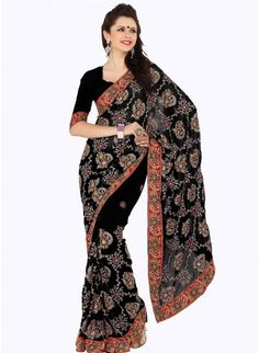 Adorable Black Embroidered Color Faux Georgette Based #Embroidered_Saree