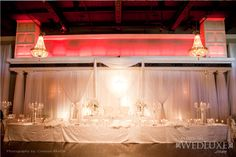White and Crystal Head Table| WedLuxe Magazine