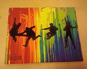 You could so do this!. Do the melted crayons and then apply silhouettes!