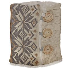 @Overstock - Elegantly constructed, these winter white boot sweaters from Muk Luks are adorned with three buttons on the sides. Warmly lined with faux fur, these boot sweaters will lend charm to nearly any boot.http://www.overstock.com/Clothing-Shoes/Muk-Luks-Winter-White-Snowflake-Cable-Boot-Sweaters/6297391/product.html?CID=214117 $28.99