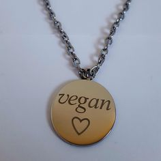 Go Vegan Official Necklace Vegan Meringue, Thing 1, Going Vegan, Pendant Necklace, Silver, Accessories, Jewelry, Jewlery, Jewerly