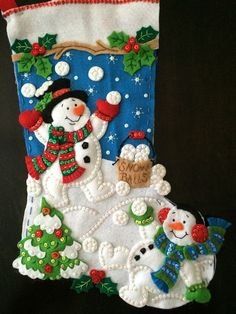 Bucilla Christmas Stocking Snowman Playing by HelenHolidayWorkshop