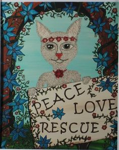Pet Rescue Art Cat Painting Print of Acrylic on by TheRescueMama