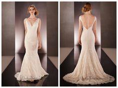 Lace Straps V-neck Lace Wedding Dresses with Low V-back