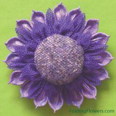 Folding Flowers - luxury lavender flower tutorial at FoldingFlowers.com Kanzashi Tutorial, Flower Tutorial, Kanzashi Flowers, Flower Petals, Lavender Flowers, Tutorials, Luxury, Floral, Fun