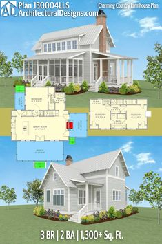 Architectural Designs Farmhouse House Plan 130004LLS gives you 3 beds, 2 baths and over 1,300 sq. ft. of heated living space. Ready when you are. Where do YOU want to build? Add 1/2 bath on 1st floor & each bedroom with own bath on 2nd floor.