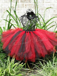 Black and Red Full and Puffy Tutu in Baby to Adult Sizes by Frills and Fireflies, $32.00
