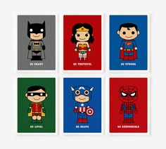 Be Loyal, Be Brave, Be Strong Cute Superhero Children decor 8 x 10 Set of 6 on Etsy, $75.00