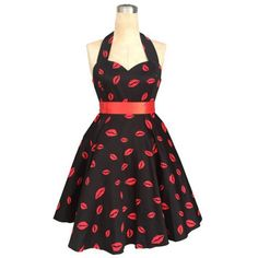 Retro Style Halter Lip Print High-Waisted Women's Dress