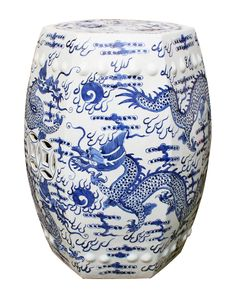 Fantastic blue and white hexagonal garden stool with the always chic dragon motif will work in every room. 14W x 14H x 18H