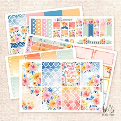Sunset Garden  Planner sticker Kit 5 pages / by HelloPetitePaper