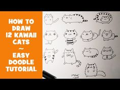 How To Draw 12 Kawaii Doodle Cats - Easy Doodle Tutorial This video is about how to draw Kawaii Cats, cute characters for doodling, as a doodle art tutorial . Bujo Doodles, Love Doodles, Kawaii Doodles, Simple Doodles, Doodle Books, Doodle Art Journals, Bullet Journal Icons, Bullet Journals, Doodle Art For Beginners