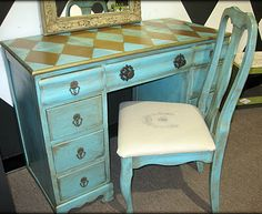 Turquoise & Gold Harlequin Desk with Bee Seat! Lurve this!