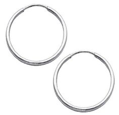 "14K White Gold 1.5mm High Polished Endless Hoop Earrings For (0.8"" or 20mm Diameter) GoldenMine. $69.00. Save 47% Off!"