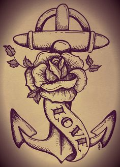Traditional Anchor & Rose