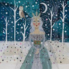 "A beautiful archival Giclee print from my Fairy Tales series of The Snow Queen, all ready for framing. The image is printed 7"" wide x 7"" high on a piece of A4 sized paper. The original image was made using collage, with fabric.It is supplied unframed, and will fit into any standard A4 size frame"