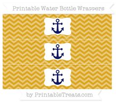 Free Goldenrod Chevron Nautical Water Bottle Wrappers