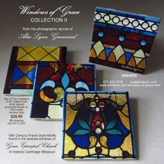 """COLLECTION III - Four Coasters · 19th Century Prairie Style Motifs · 4""""x4"""" tiles · matte finish · artist signed · produced locally on USA made ceramic tiles $28.00/Collection - ($8 shipping per collection in USA) TO ORDER: http://www.alicelynn.com/windows-of-grace.html - art@alicelynn.com - 417·825·0706"""