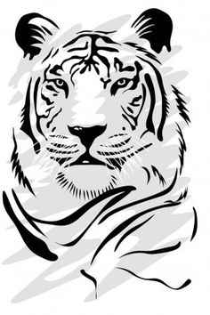 Line Drawing, Drawing Sketches, Drawings, Viking Warrior Tattoos, White Tiger Tattoo, Tiger Silhouette, Behind Ear Tattoos, Tiger Images, H Tattoo