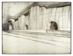 Christo B.1935 THE WALL: PROJECT FOR A WRAPPED ROMAN WALL signed, titled, dated 1974 and variously inscribed pencil, coloured pencil and charcoal on paper. 107 by 143cm.