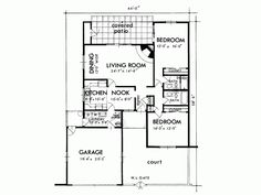 900 square foot house plans Bedroom 2 Bath 900 Square Feet