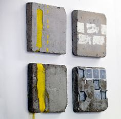 Bethany Walker - mixed media artist best known for her 'signature' combination of materials – cement and textiles.   http://www.bethanywalker.com/